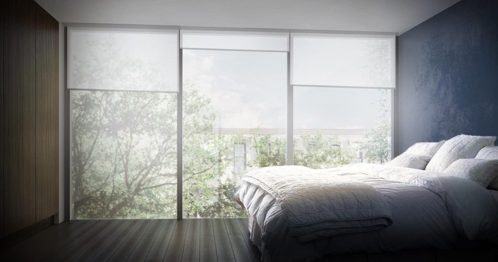 Rendering of the master bedroom with large floor to ceiling windows letting in plenty of natural light