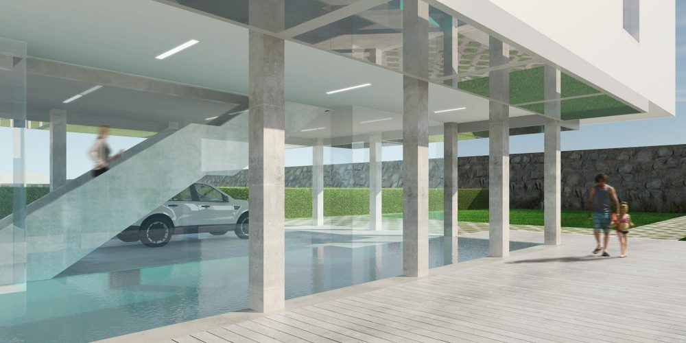 On the ground level, a pool and parking area fit within the footprint of the house