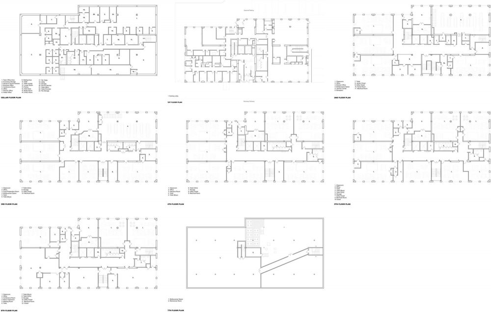 The eight floor plans of the project, from the cellar to the 7th floor