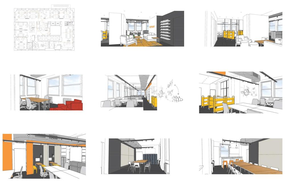 Perspective views of the project were generated in order to be shared during the workshop process with the brightspot team
