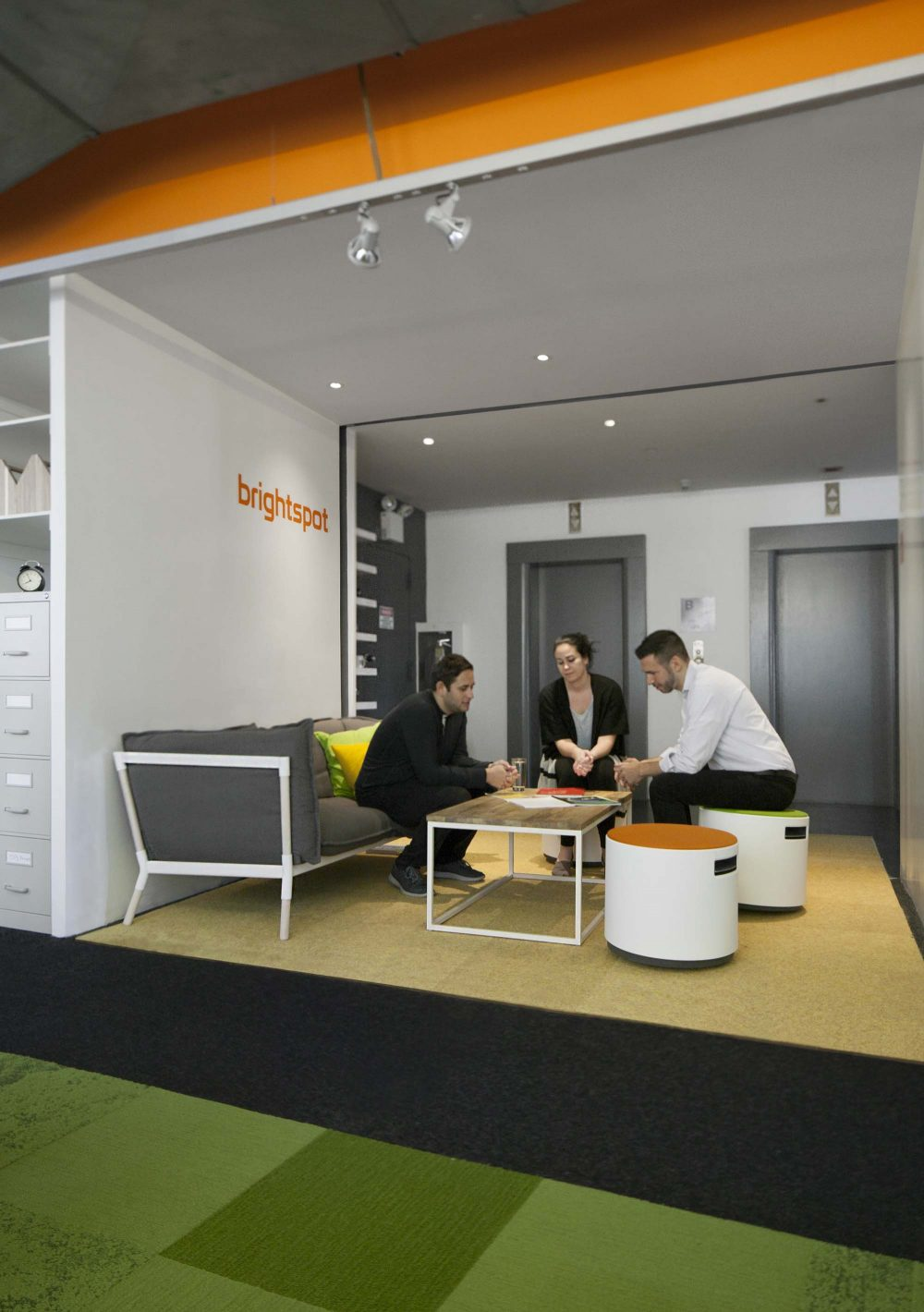 The Porch entrance space can serve as both a waiting and reception area, and place for informal meetings between staff members